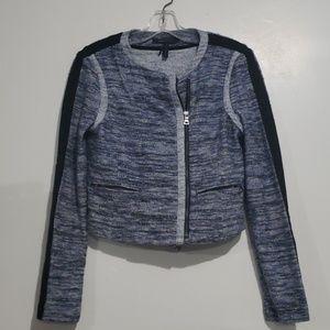 BCBG Maxazria Blue/Black Zip up Jacket Sz S